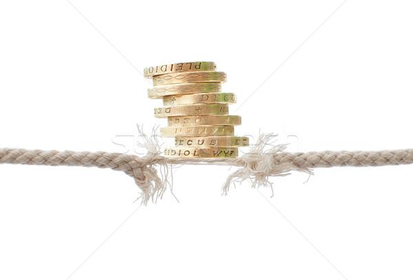 Corde équilibrage acte pièces haut Finance Photo stock © unikpix