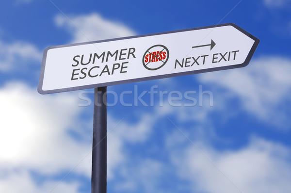 夏 脱出 ストレス 無料 道路標識 雲 ストックフォト © unikpix