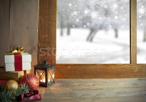 Noel hediyeler süslemeleri pencere kar açık havada Stok fotoğraf © unikpix