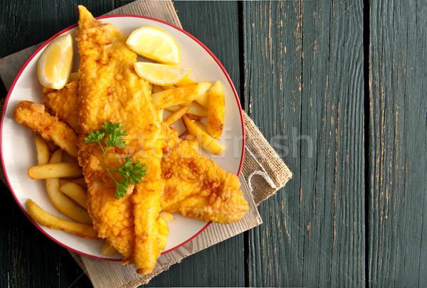 Hal sültkrumpli közelkép leharcolt tányér étel Stock fotó © unikpix