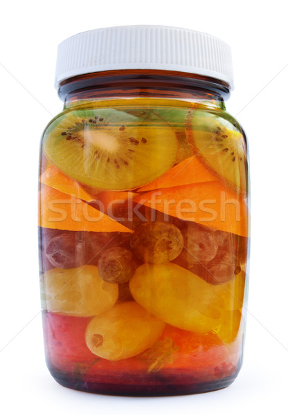 Vitamine c vitamine bouteille fruits blanche alimentaire Photo stock © unikpix