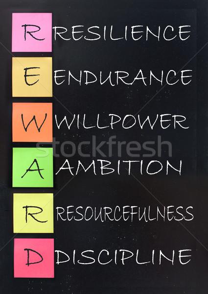 Jutalom siker betűszó kézzel írott iskolatábla stratégia Stock fotó © unikpix
