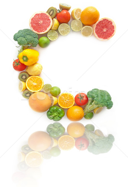 Vitamine c riche fruits légumes alphabet forme Photo stock © unikpix