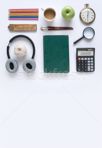 Irodaszer tárgyak különböző űr könyv óra Stock fotó © unikpix