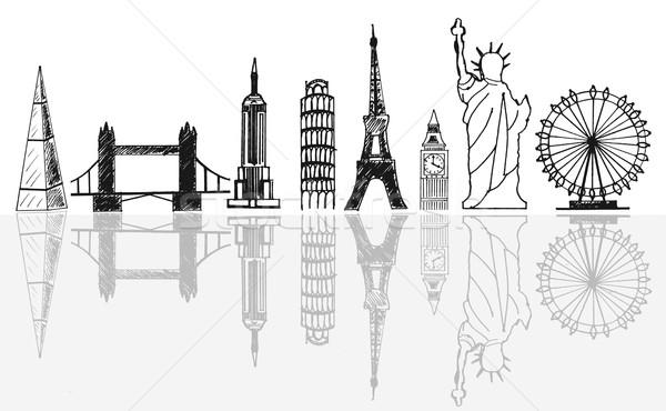Podróży turystycznych panoramę szkic samolot pływające Zdjęcia stock © unikpix
