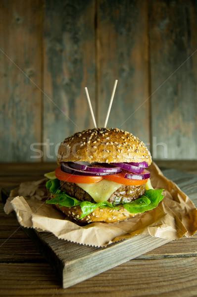 Rustic burger  Stock photo © unikpix