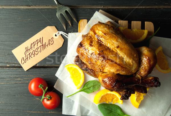 Happy christmas roast turkey Stock photo © unikpix