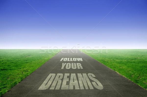 álmok nyitva út szöveg kék élet Stock fotó © unikpix