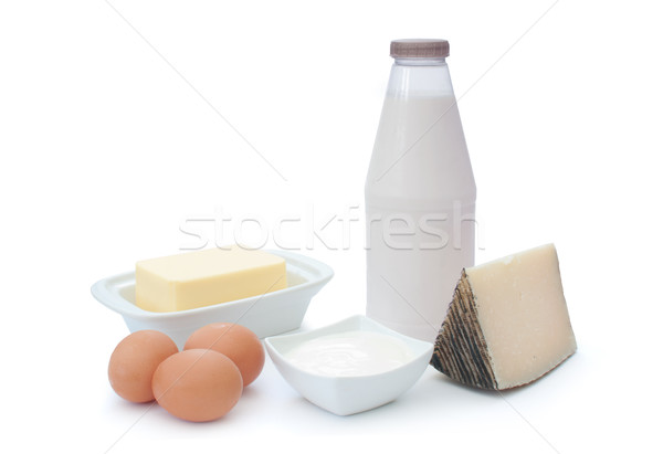 Tejtermékek tojások fehér tojás sajt üveg Stock fotó © unikpix