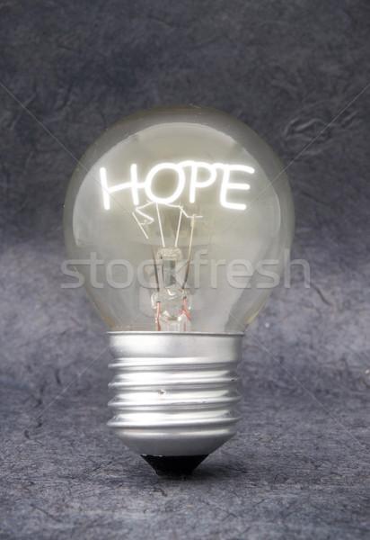 Speranza lampadina illuminazione up parola fede Foto d'archivio © unikpix