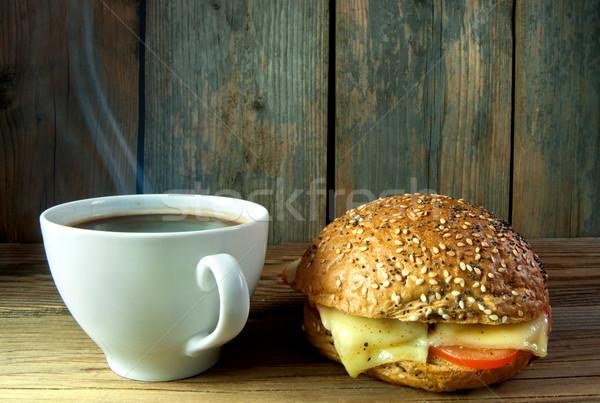 Coffee and wholegrain sandwich roll Stock photo © unikpix
