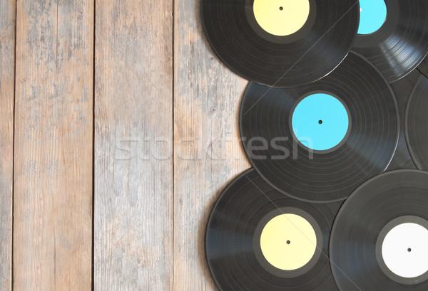 Vinil registros topo madeira espaço fundo Foto stock © unikpix