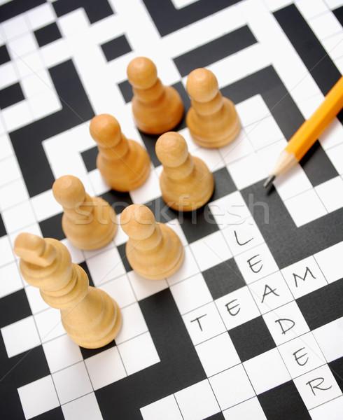 Chef d'équipe pièces d'échecs up deux mots croisés Photo stock © unikpix