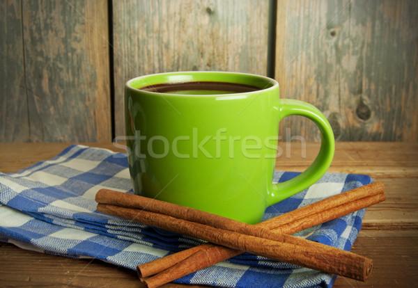 Forró csokoládé közelkép ital étel csokoládé reggeli Stock fotó © unikpix
