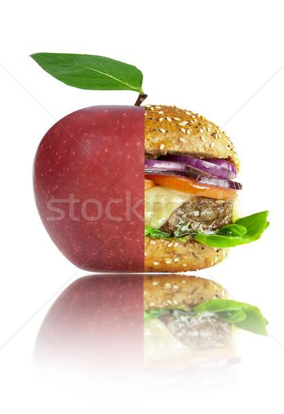 Saudável alimentos não saudáveis nutrição maçã burger Foto stock © unikpix