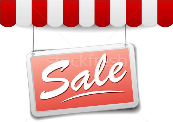 Teken verkoop gedetailleerd illustratie Rood winkel Stockfoto © unkreatives