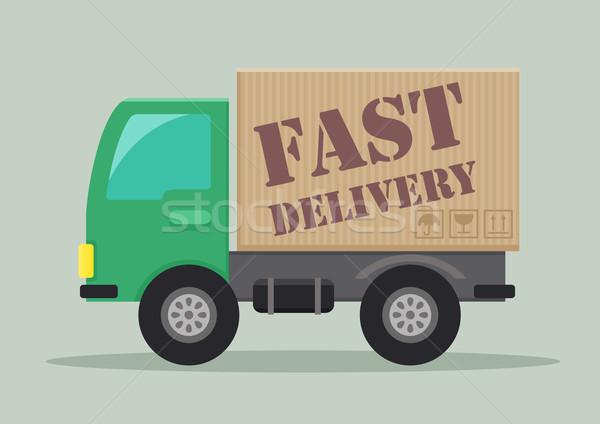 грузовик быстро подробный иллюстрация доставки Label Сток-фото © unkreatives