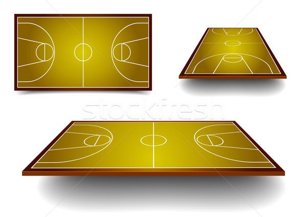 Stockfoto: Ingesteld · basketbalveld · gedetailleerd · illustratie · basketbal · verschillend