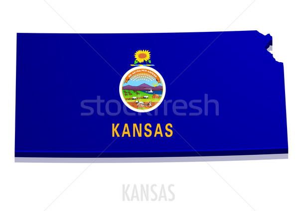 Carte Kansas détaillée illustration pavillon eps10 Photo stock © unkreatives