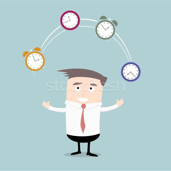 üzletember időbeosztás részletes illusztráció zsonglőrködés órák Stock fotó © unkreatives