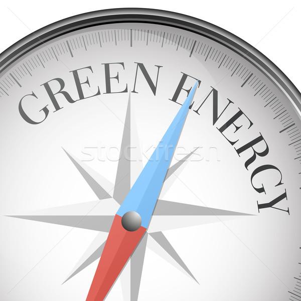 Kompas groene energie gedetailleerd illustratie tekst eps10 Stockfoto © unkreatives