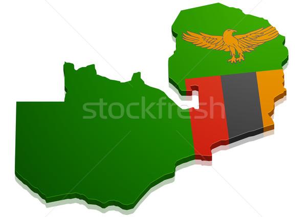карта Замбия подробный иллюстрация флаг eps10 Сток-фото © unkreatives