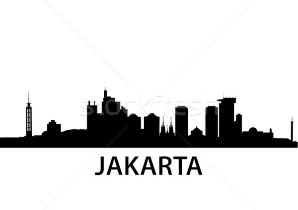 Skyline Jakarta gedetailleerd Indonesië business stad Stockfoto © unkreatives