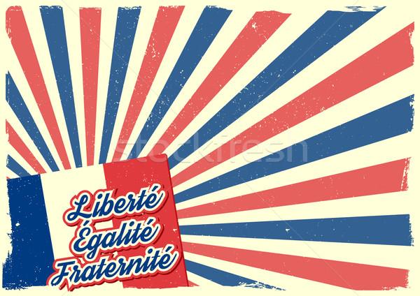 Frankreich detaillierte Illustration Französisch Flagge Elemente Stock foto © unkreatives