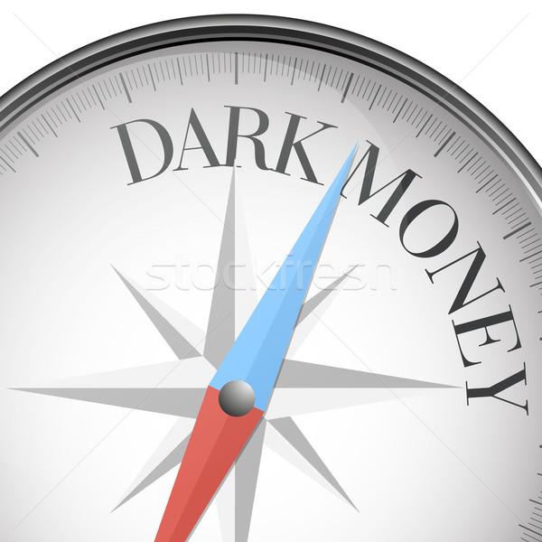 Boussole sombre argent détaillée illustration texte Photo stock © unkreatives