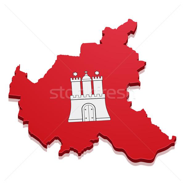 Mappa amburgo dettagliato illustrazione bandiera eps10 Foto d'archivio © unkreatives