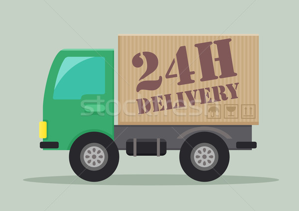Camion de livraison détaillée illustration livraison étiquette eps10 Photo stock © unkreatives