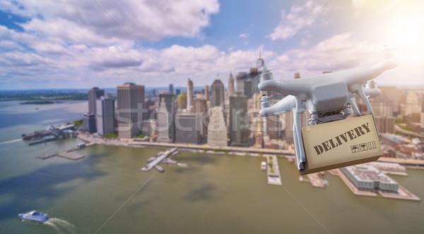 Stock fotó: Repülés · csomag · alsó · New · York · Manhattan · égbolt