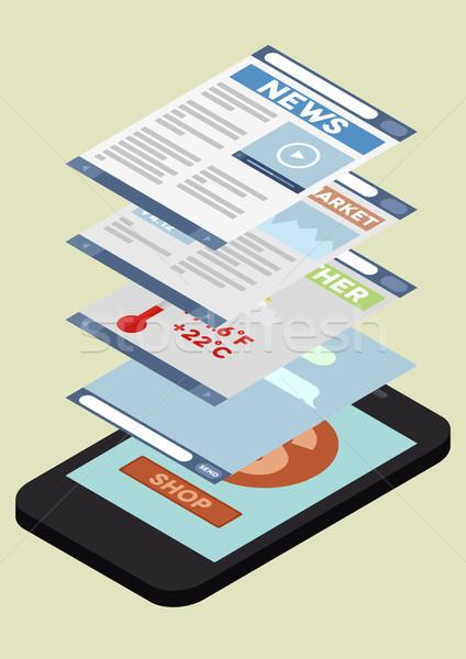 phone application isometric Stock photo © unkreatives