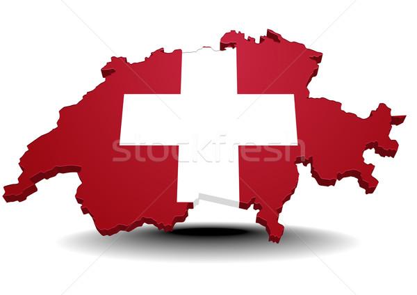 İsviçre ayrıntılı örnek harita bayrak eps10 Stok fotoğraf © unkreatives