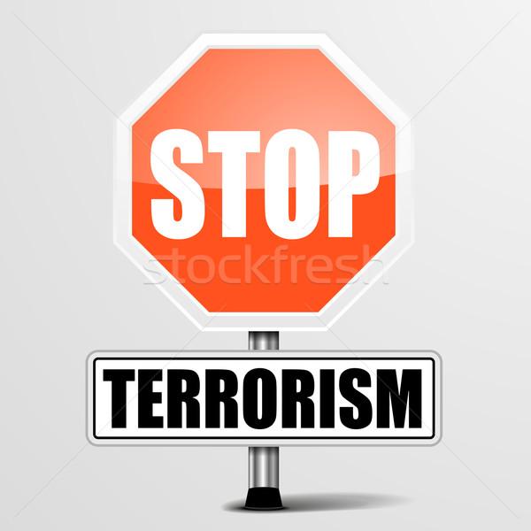 Arrêter terrorisme détaillée illustration rouge signe Photo stock © unkreatives