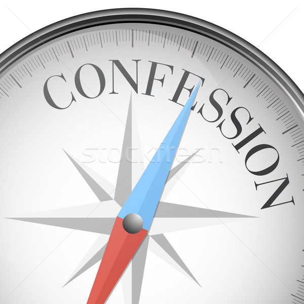 Kompas bekentenis gedetailleerd illustratie tekst eps10 Stockfoto © unkreatives