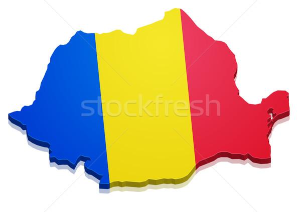 Mapa Rumania detallado ilustración bandera eps10 Foto stock © unkreatives