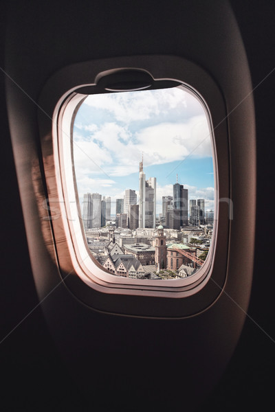 Airplane window Frankfurt am Main Stock photo © unkreatives