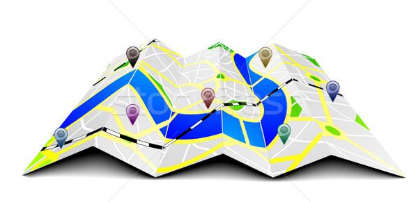Foto stock: Cidade · mapa · ilustração · dobrado · gps · símbolos