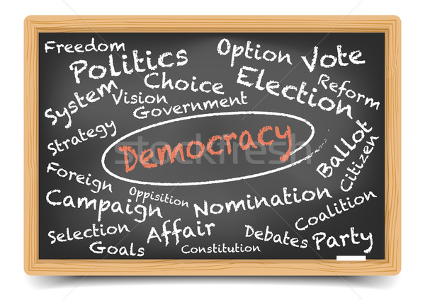 Democratie Blackboard gedetailleerd illustratie eps10 Stockfoto © unkreatives