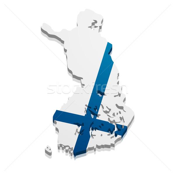 Térkép Finnország részletes illusztráció zászló eps10 Stock fotó © unkreatives