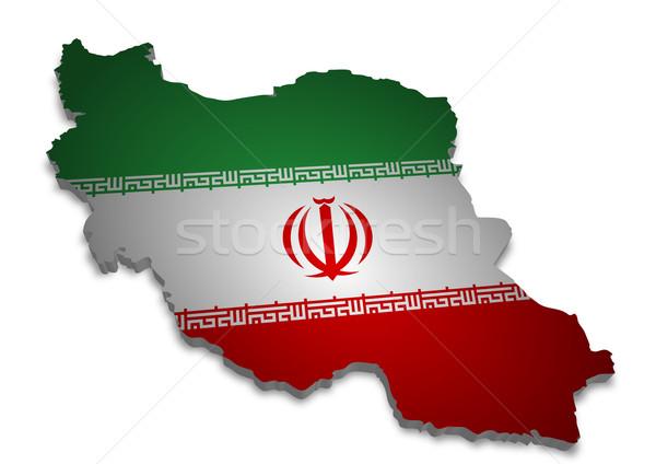Irán 3D skicc zászló absztrakt felirat Stock fotó © unkreatives