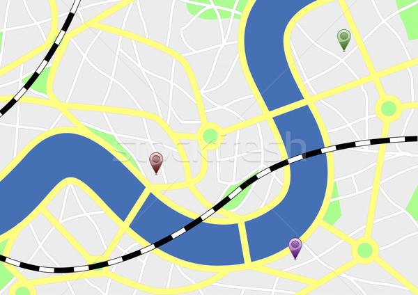 Сток-фото: город · карта · иллюстрация · сложенный · GPS