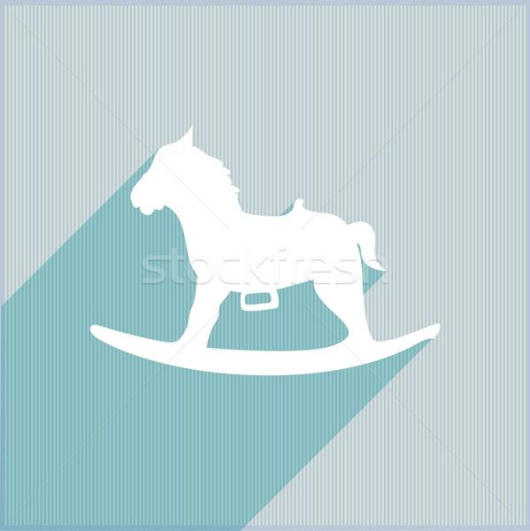Noël cheval à bascule détaillée illustration stylisé bois Photo stock © unkreatives