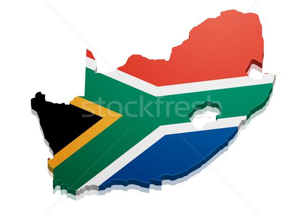 Kaart South Africa gedetailleerd illustratie vlag eps10 Stockfoto © unkreatives
