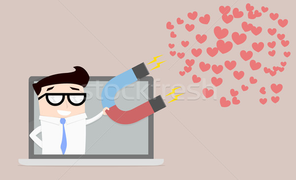 businessman attracting hearts Stock photo © unkreatives