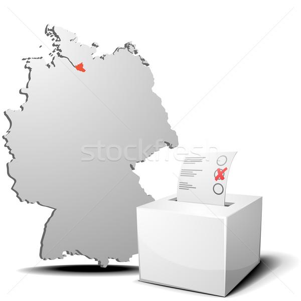 Votar Alemanha hamburgo detalhado ilustração cédula Foto stock © unkreatives