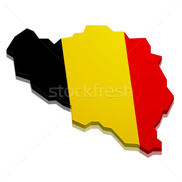 Harita Belçika ayrıntılı örnek 3D bayrak Stok fotoğraf © unkreatives