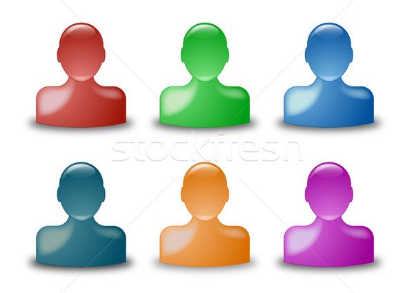 Stock fotó: Haver · ikonok · illusztráció · különböző · színek · nők