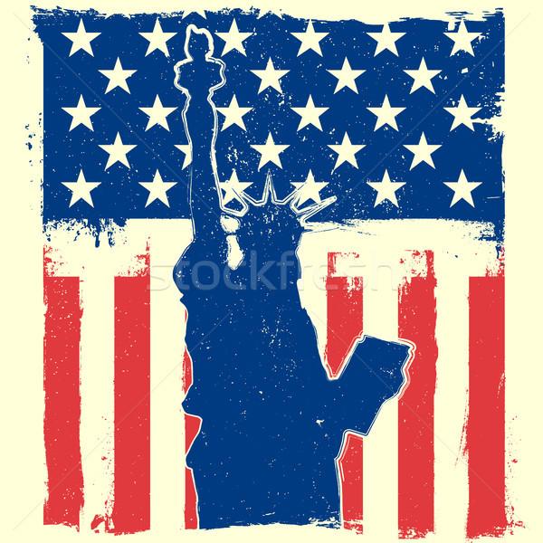 Vrijheid sterren gedetailleerd illustratie standbeeld Stockfoto © unkreatives